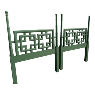 1960s Chinoiserie Palm Beach Green Twin Headboards - Pair For Sale