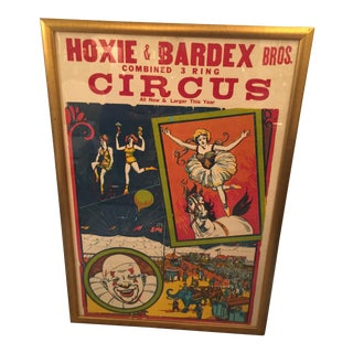 1940s Vintage Hoxie & Bardex Brothers Circus Poster For Sale