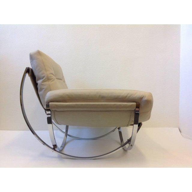 Animal Skin Italian Polish Stainless Steel and Leather Lounge Chair and Ottoman by Leonart Bender for Charlton Co. For Sale - Image 7 of 13
