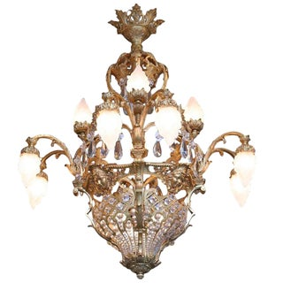 Palatial French 19th Century Louis XV Bronze and Crystal Chandelier For Sale