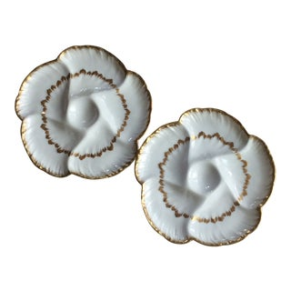 Pair of French Porcelain Oyster Plates - Antique C.1900