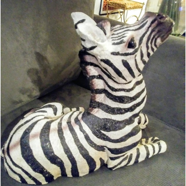 1980s 1980s Black and White Sitting Zebra Palm Beach Regency Statue For Sale - Image 5 of 8