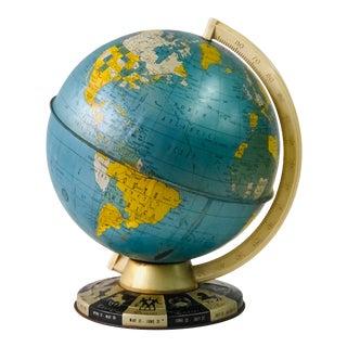 Retro Metallic World Globe With Zodiac Base For Sale