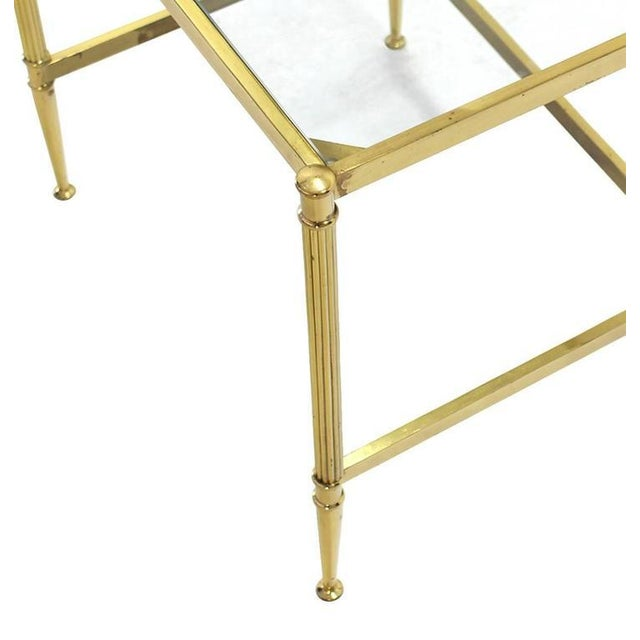 Brass Set of Three Mid-Century Modern Brass Nesting End Tables For Sale - Image 7 of 9