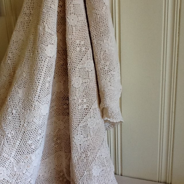 Vintage Boho Crocheted Coverlet or Tablecloth - Image 3 of 11