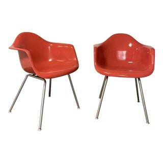 Molded Fiberglass Armchairs- A Pair For Sale