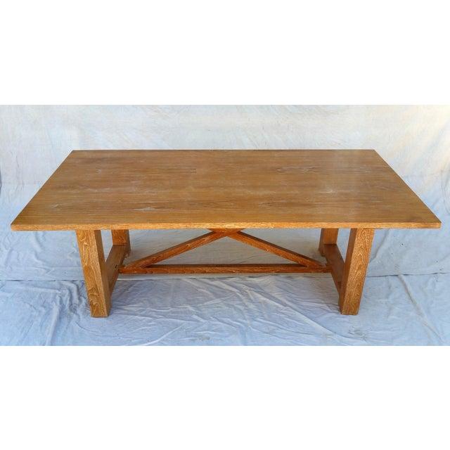 Vintage Pickled Teak Trestle Table For Sale - Image 4 of 11