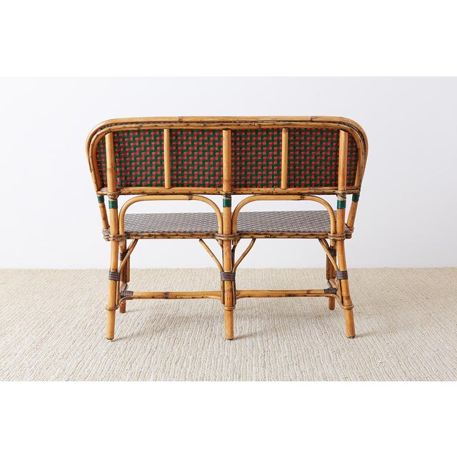 French Maison Gatti Rattan Bamboo Banquette Settee For Sale - Image 12 of 13