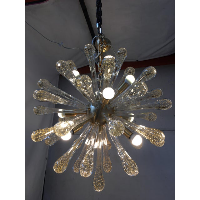 Murano Chandelier Murano Glass Sputnik Metal Frame Gold Brushed For Sale - Image 4 of 8