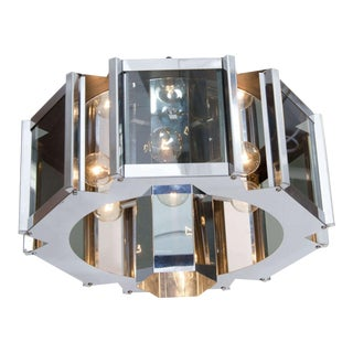Frederick Ramond Chrome & Smoke Glass Hexagonal Chandelier