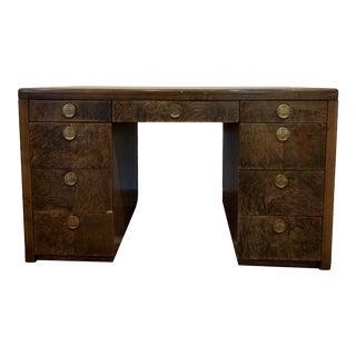 Sligh Burled Wood Desk For Sale