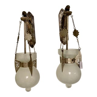 Pair of Moroccan Sconces With Frosted Glass For Sale