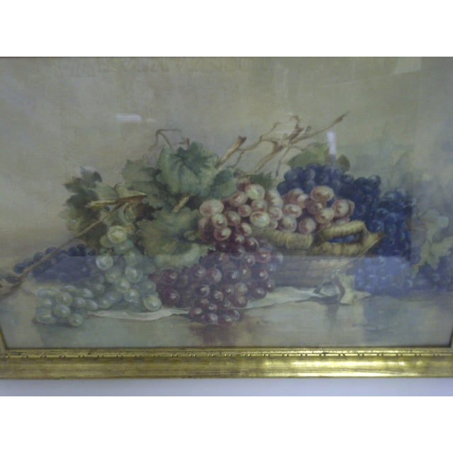 """Traditional """"Grapes,"""" Victorian Painting For Sale - Image 3 of 6"""