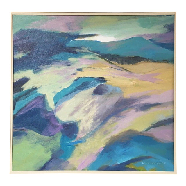 Jane Heller Vintage Mid Century Modern Abstract Expressionist Oil Painting For Sale