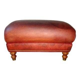 1950s Vintage Leather Ottoman For Sale