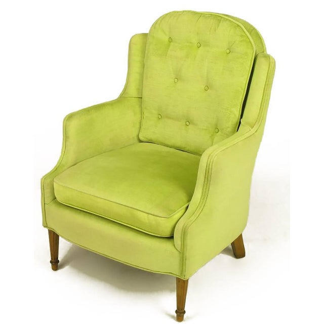 Pair of Chartreuse Yellow-Green Velvet Regency Lounge Chairs - Image 5 of 9