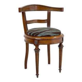Neoclassical Vanity Chair of Walnut and Brass For Sale