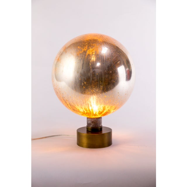 Gold Mercury Glass Sphere Table Lamp For Sale - Image 8 of 13