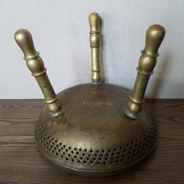 Vintage Etched Brass Brazier Stool For Sale - Image 4 of 7