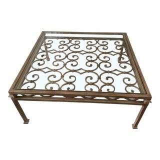 Art Nouveau Scrolling Iron Coffee Table For Sale