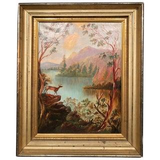 "Marion Merritt Oil Painting Hudson River School Lake George ""Paradise Bay"" For Sale"