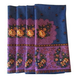 Vintage French Country Dinner Napkins - Set of 4 For Sale