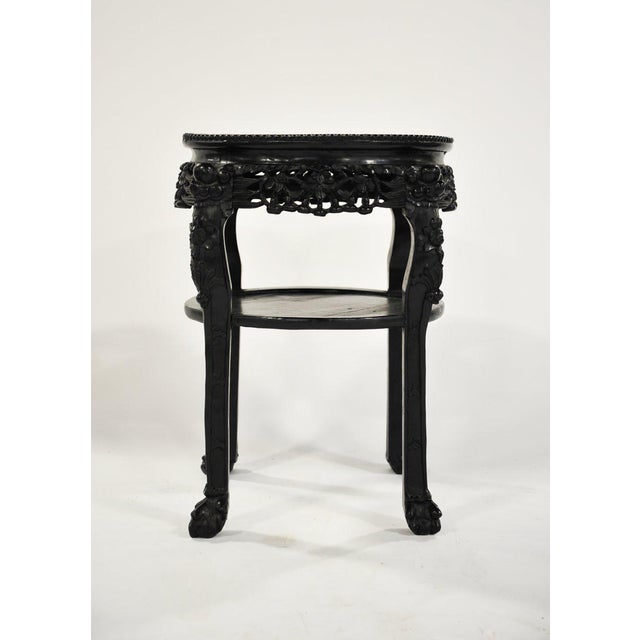 Asian 19th C. Chinese Carved Marble Inlay Round Side Table For Sale - Image 3 of 13