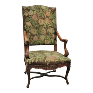 19th Century Louis XV Carved Walnut High Back Chair For Sale