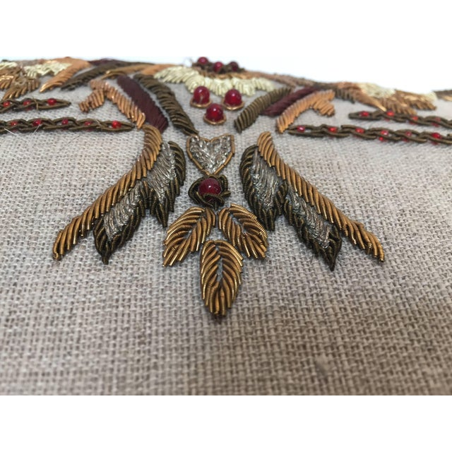 Accent Pillow Embroidered With Moorish Metallic Threads Design For Sale - Image 4 of 10