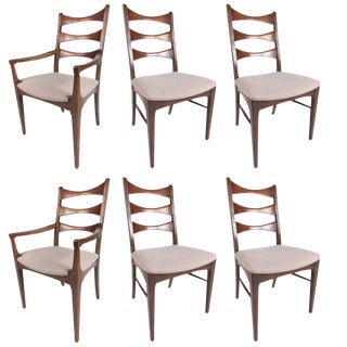 Set of Mid-Century American Walnut Dining Chairs For Sale