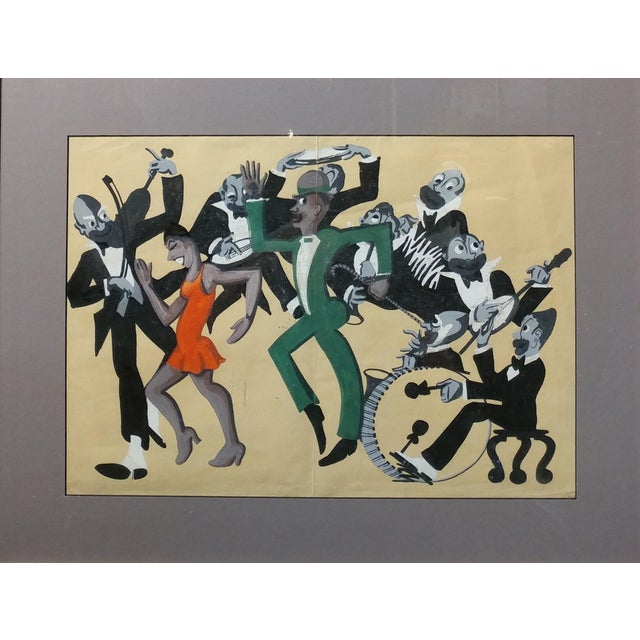 Realism Lucille Miller -African American Dancing Jazz-1930 - Painting Guache on Paper For Sale - Image 3 of 11