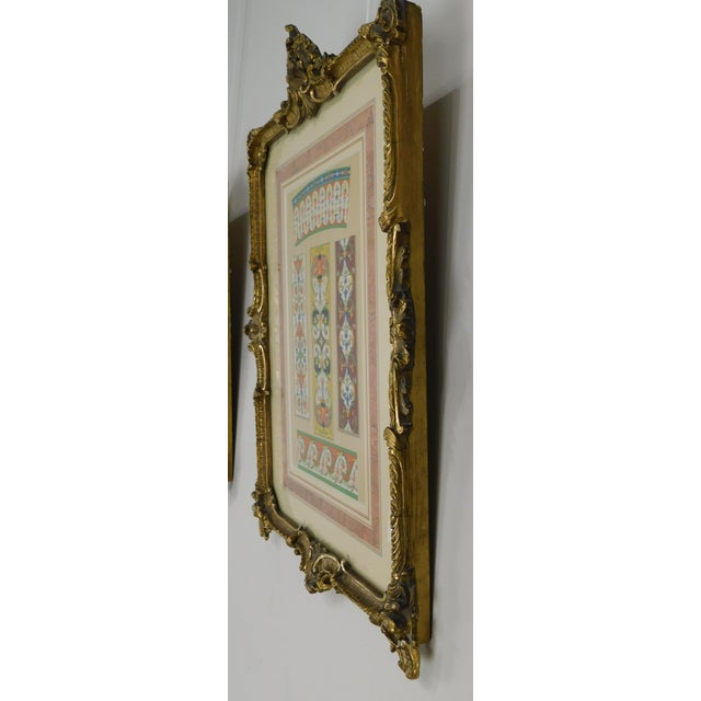Rococo Gilt Framed Pair of Prints Showing Samples of Decorative Wallpaper Borders For Sale - Image 4 of 13