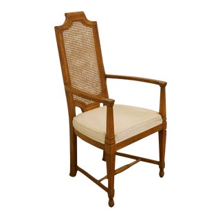 Late 20th Century Vintage Henredon Town & Country Collection Cane Back Dining Arm Chair For Sale