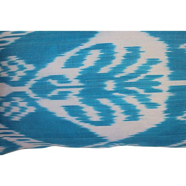 Silk Ikat Turquoise Pillows- A Pair For Sale - Image 5 of 5