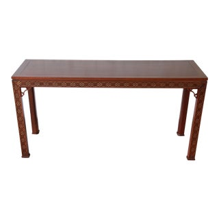 Fine Carved Mahogany Chinese Chippendale Hall Table by Kindel For Sale