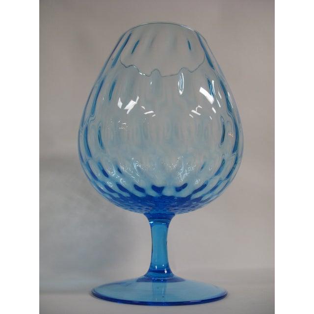 1960s Empoli Aqua Blue Optic Glass Snifter Vase For Sale - Image 10 of 13