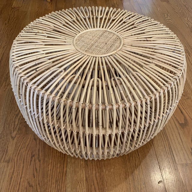 Boho Chic Franco Alibini Style Round Rattan Ottoman Side Table For Sale - Image 3 of 12