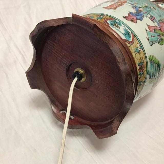 Antique Japanese Porcelain & Wood Lamp - Image 7 of 11