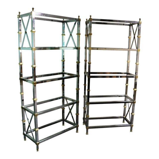 Jansen Style Neoclassical Chrome Etageres - Pair - Image 1 of 7