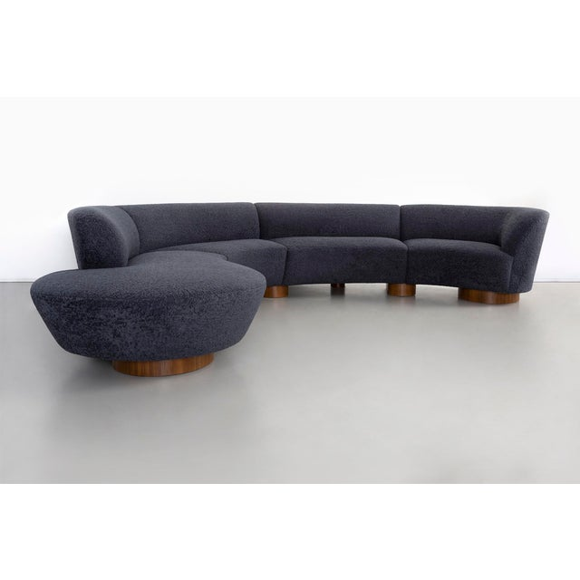 """Cloud sectional sofa designed by Vladimir Kagan for Directional USA, c 1970s freshly reupholstered Overall: 28 ¼"""" h x 143..."""