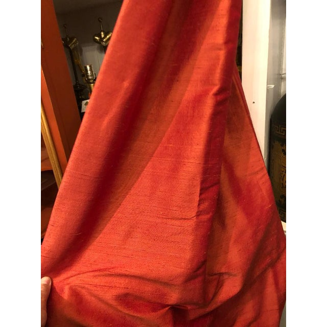 Pair of Genuine Fortuny Gold & Orange-Red Drapes w Silk Lining. Outstanding pair from amazing estate in exquisite...