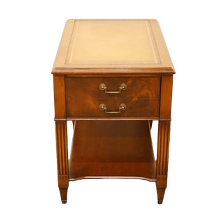 1950's Vintage Antique Banded Mahogany and Tooled Leather Top End Table For Sale