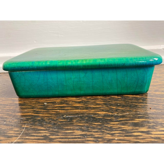 Mid 20th Century Raymor Italian Emerald Green Ceramic Box For Sale In Los Angeles - Image 6 of 6