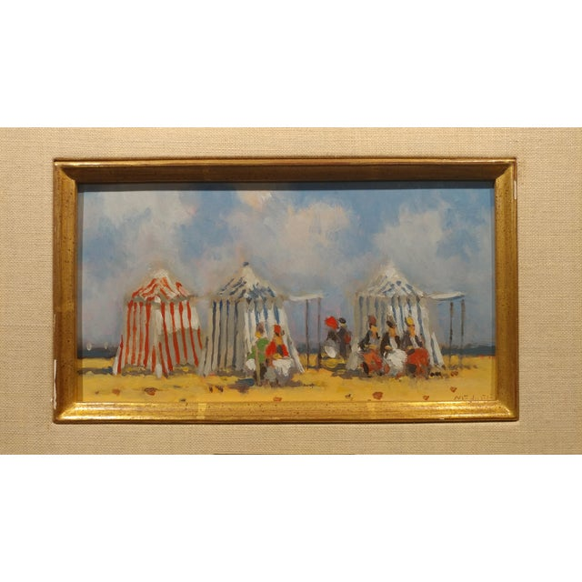 Frederick H. McDuff - Figures With Cabanas at the Beach -Oil Painting For Sale - Image 10 of 12