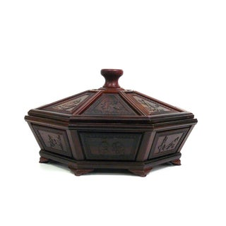 Chinese Rosewood Octagon Immortal Theme Accent Box For Sale