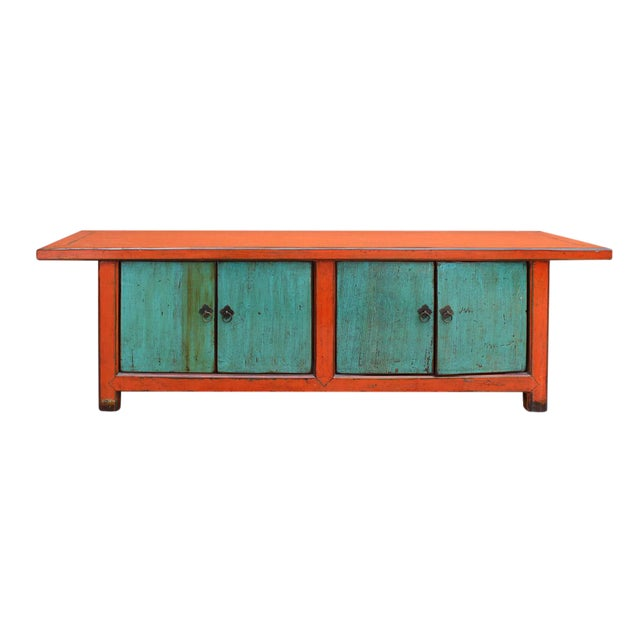 Chinese Distressed Orange Blue Low TV Console For Sale