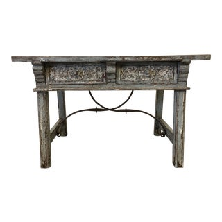 Vintage Spanish Renaissance Two Drawer Table With Iron Stretcher For Sale