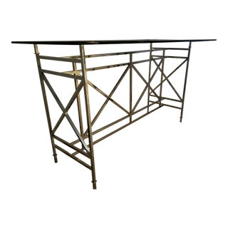 Contemporary Polished Stainless Steel and Glass Bar Console For Sale
