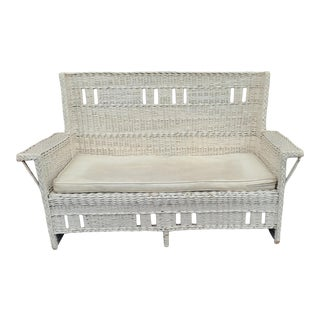 Very Good Quality Antique Victorian Wicker Loveseat C1900 For Sale