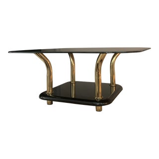 1980s Black Lacquer and Brass Springer Style Coffee Table For Sale